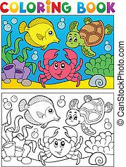 5, színezés, állatok, könyv, tengeri
