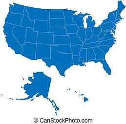 50, egyesült államok, usa, kék, szín