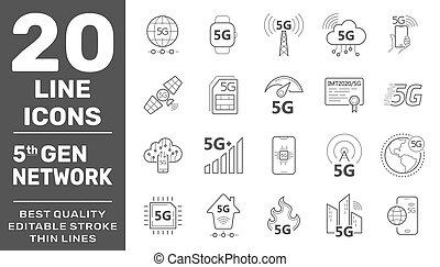 5g, drótnélküli távíró, egyenes, set., új, eps, ikonok, vektor, internet, stroke., jelez, híradástechnika, 10, mozgatható, biztonság, technológia, editable, symbols.