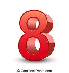 8, fényes, szám, piros, 3