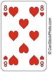 8, piszkavas, játék kártya, szív