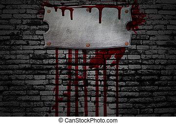 8., véres, állhatatos, fal, cégtábla, tégla