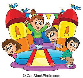 9, játék, gyerekek, téma, kép