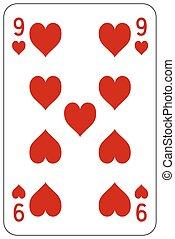 9, szív, piszkavas, játék kártya