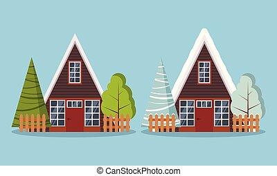 a-frame, csinosítja magát, bekerít, nyár, állhatatos, tanya, erdő, elszigetelt, vidéki, épület, bitófák, tél