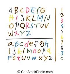 abc, állhatatos, crayons., rajz, colorful., gyermek, illustration., viasz, elkészített, kölyök, elem, betűtípus, vektor