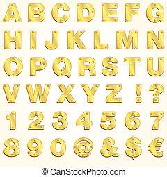 abc, arany, vektor, arany-, levél