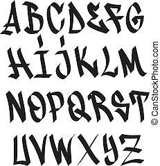 abc, betűtípus, falfirkálás