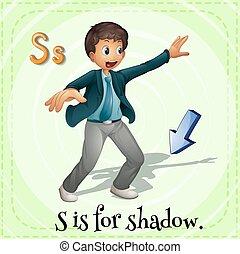 abc, dél, árnyék, flashcard
