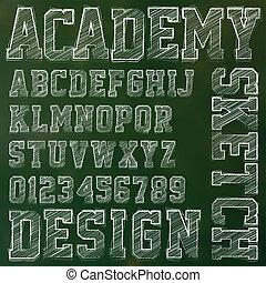 abc, elvont, vektor, ábra, sketched