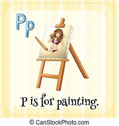 abc, festmény, flashcard, p