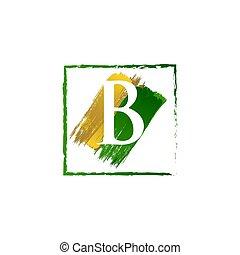abc, jel, finom, loccsanás, arany, zöld, levél, grunge, b betű