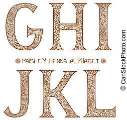 abc, paisley, hennabokor, g betű