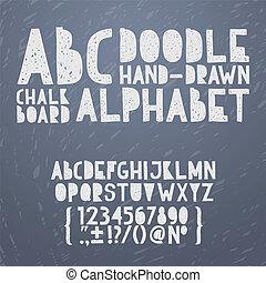 abc, rajzol, grunge, ábécé, szórakozottan firkálgat, ábra, kéz, kréta, vektor, rögtönzött, betűtípus, gépel