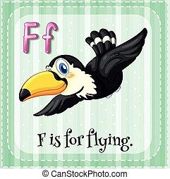 abc, repülés, flashcard, f