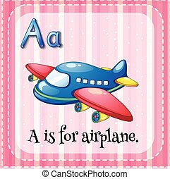 abc, repülőgép, flashcard