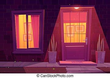 ablak, épülethomlokzat, épület, éjszaka, ajtó