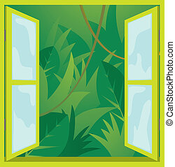 ablak, dzsungel, /, természet