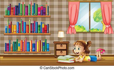 ablak, előjegyez, felolvasás, leány