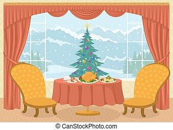 ablak, fa, szoba, karácsony