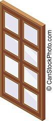 ablak, isometric, ikon, mód, erdő