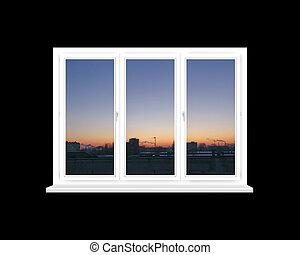 ablak kilátás, piros, elszigetelt, épületek, felül, fekete, körképszerű, város, napnyugta
