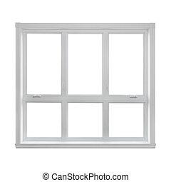 ablak, modern, elszigetelt, háttér, fehér