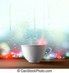 ablak, white háttér, csésze