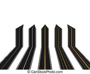 abstract., jelzés, állhatatos, forma, nyílvesszö, ábra, háttér., sárga, közútak, fehér, kilátás