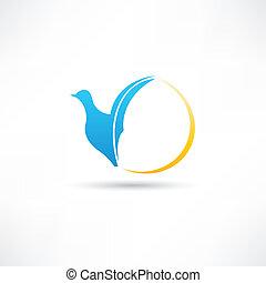absztrakció, madár, ikon