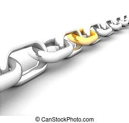 acél, összekapcsol, gold lánc, 3