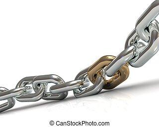 acél, arany-, összekapcsol, lánc