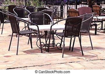acél, asztal, szék
