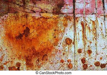 acél, oxidált, grunge, struktúra, festék, berozsdásodott, vas, idős