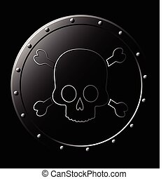 acél, pajzs, koponya, -, elszigetelt, fekete