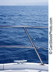 acél, rozsdamentes, részletez, csomó, védőkorlát, tengeri, csónakázik