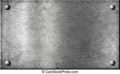 acél, tányér, alumínium, alumínium, fém, vagy, szegecsel
