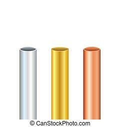 acél, tubes., különböző, vektor, ábra, vagy, csövek, acél, diameters., arany, alumínium, set., pipa, részvény, vörösréz