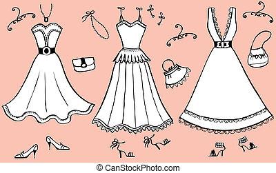 accessories., ruha, nő, vektor, ábra