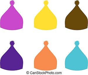 accessory., állhatatos, kalap, sport, mód, kötött, szín, sapka, vektor, ábra, síel, tél, snowboarding