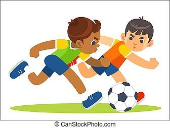 action., játékos, kevés, futball