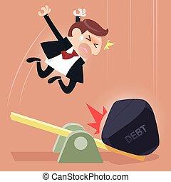 adósság, üzletember, mérleg, megterhel, között