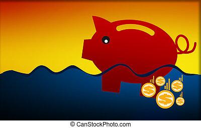 adósság, falánk, fulladás, part