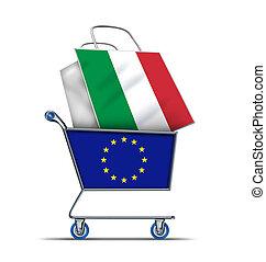 adósság, olaszország, vásárlás, európa, olasz