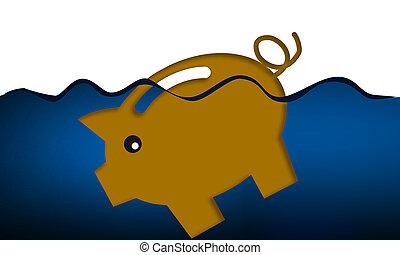 adósság, part, falánk, fulladás