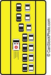 ad, autók, aláír, forgalom, irány, tanácsol, ambulance., bal