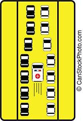 ad, autók, aláír, középső, forgalom, irány, tanácsol, ambulance.