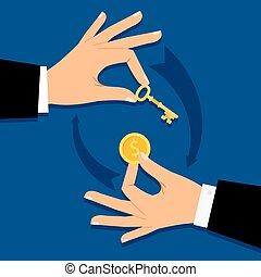 ad pénz, üzletember, kulcs, kézbesít