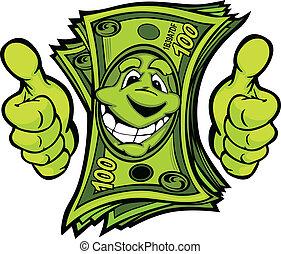 ad pénz, feláll, illustr, vektor, lapozgat, kézbesít, karikatúra, gesztus