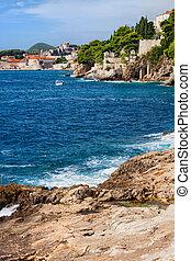 adriai, horvátország, partvonal, tenger